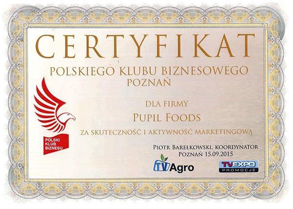 Certyfikat Polskiego Klubu Biznesowego